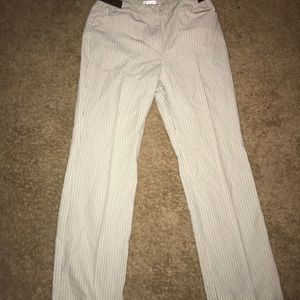 Nine West 2P tan and black striped pants